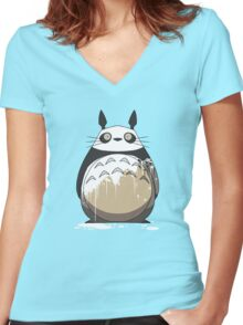 Totoro Painting Panda Women's Fitted V-Neck T-Shirt