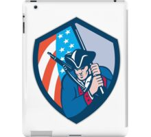 American Patriot Holding Brandish Flag Shield Retro iPad Case/Skin