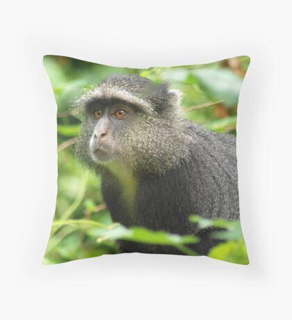 Blue monkey. Throw Pillow