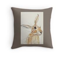 Hop Hare-Listening Throw Pillow