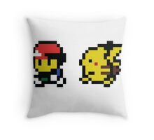 Ash & Pikachu Pixel Design - Gameboy Throw Pillow