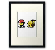 Ash & Pikachu Pixel Design - Gameboy Framed Print