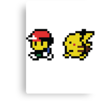 Ash & Pikachu Pixel Design - Gameboy Canvas Print