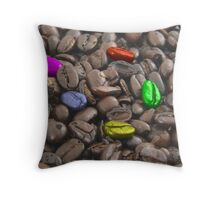 colorful coffee beans Throw Pillow