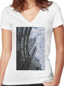 Hugging the Clouds at Columbus Circle - Manhattan, New York City Women's Fitted V-Neck T-Shirt