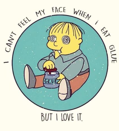 Ralph Wiggum eating glue Sticker