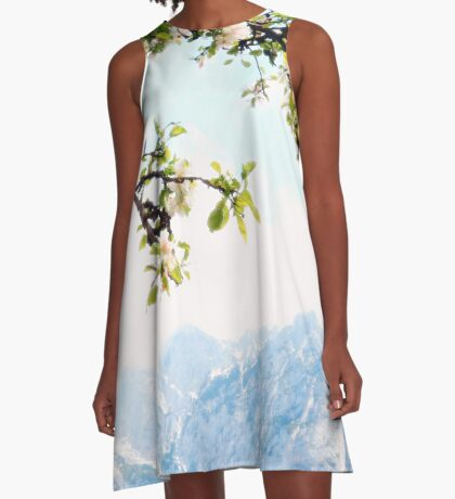 Apple Blossoms and Mountains  A-Line Dress