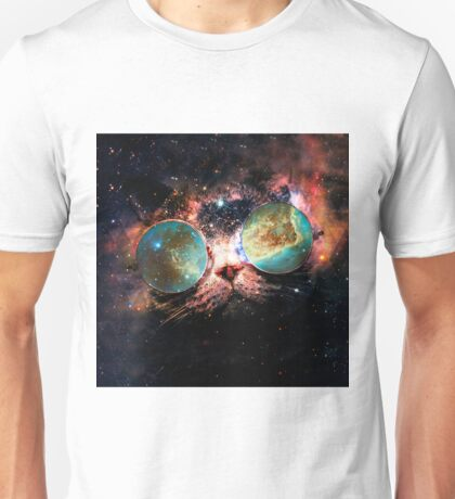 Cool Space Cat with Telescope Glasses in space Unisex T-Shirt