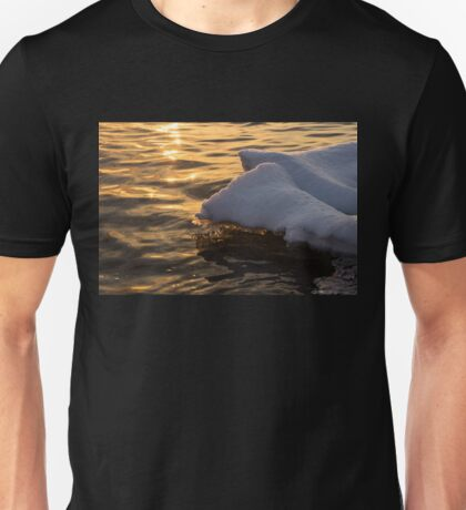 Icy Gold and Silk - Luminous Icicles Reflected on Glossy Water Unisex T-Shirt