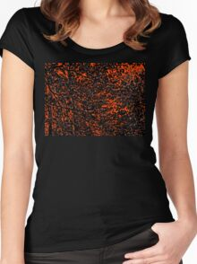 Orange and Black Tree Branches and Leaves Abstract Design Women's Fitted Scoop T-Shirt