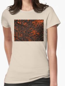 Orange and Black Tree Branches and Leaves Abstract Design Womens Fitted T-Shirt