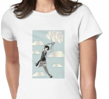 Floating Flapper Blue Womens Fitted T-Shirt