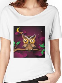 Cute Owls on Colorful Branches green purple                                             Women's Relaxed Fit T-Shirt