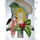 Winter Wonderland Bird Sitting On Vintage Street Lantern by taiche