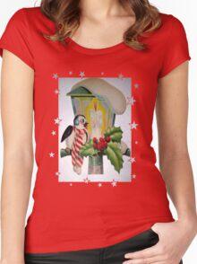 Winter Wonderland Bird Sitting On Vintage Street Lantern Women's Fitted Scoop T-Shirt