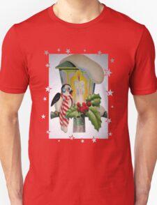 Winter Wonderland Bird Sitting On Vintage Street Lantern Unisex T-Shirt