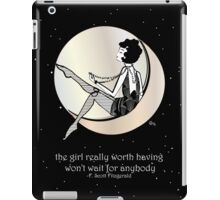 Gatsby Girl swinging on the Moon with F Scott Fitzgerald Quote iPad Case/Skin
