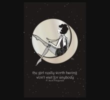 Gatsby Girl swinging on the Moon with F Scott Fitzgerald Quote Kids Clothes