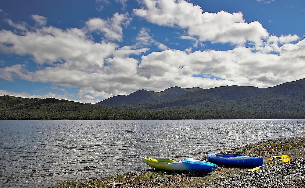 Two Canoes by Lake Te Anau (colour version) by tonilouise