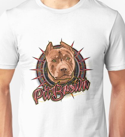 dog art radical pit bull brown and red Unisex T-Shirt
