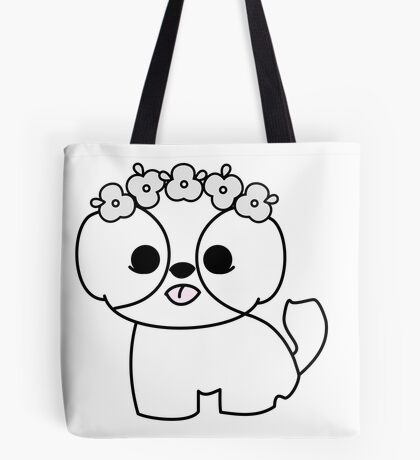Shih Tzu Puppy with Flower Crown Tote Bag