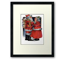 Vintage Mr and Mrs Claus Framed Print