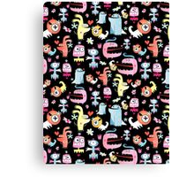 texture of funny monsters Canvas Print