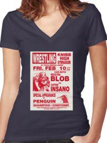 The Revolting Blob Wrestling Poster Women's Fitted V-Neck T-Shirt