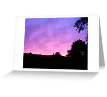 Pink Sunrise over the hills. Greeting Card