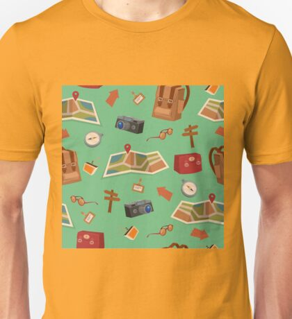 Seamless Pattern of Camping Elements with Baggage, Travel Accessories and Map Unisex T-Shirt
