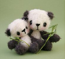 Naoki and Moe Panda bears from Teddy Bear Orphans by Penny Bonser