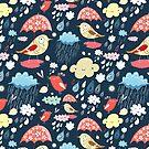 birds under umbrellas and rain by Tanor