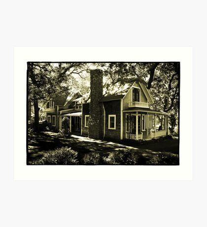 Wooden House & Flag, Martha's Vineyard, New England Art Print