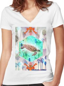 Turtle fly Women's Fitted V-Neck T-Shirt