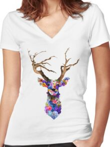 Floral Stag Women's Fitted V-Neck T-Shirt