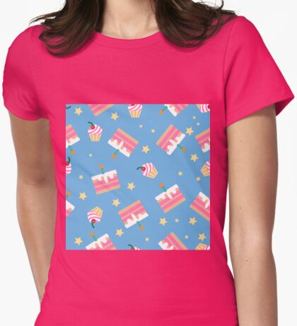 Happy Birthday Seamless Pattern with Cakes for Children Party Womens Fitted T-Shirt