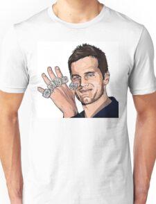 Tom Brady Five Super Bowl Rings Pose Painting  Unisex T-Shirt