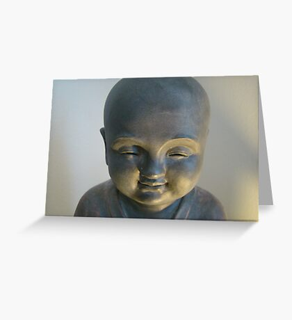 Monk Statue Smile Greeting Card