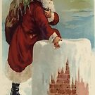 Santa Stepping Into A Chimney With Gifts by taiche