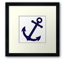 Navy Blue Anchor Framed Print