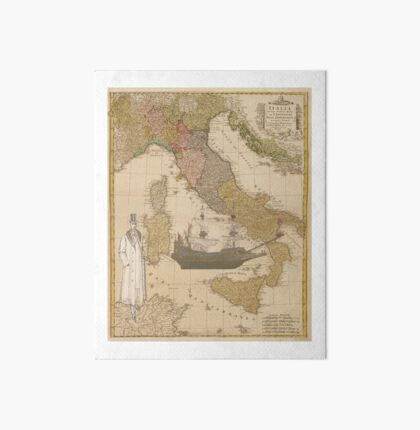 Steampunk Inspired Map: Man & French Galleon Ship Art Board