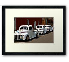 White Trucks Framed Print