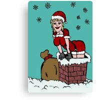 Sexy Santa Claus falling from chimney Canvas Print