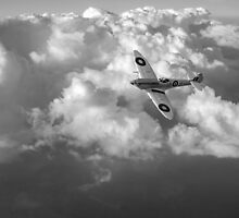 Soaring silver Spitfire black and white version by Gary Eason + Flight Artworks