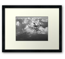 Soaring silver Spitfire black and white version Framed Print