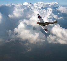 Soaring silver Spitfire cloudscape by Gary Eason + Flight Artworks