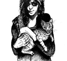 joey ramone with cat by Dawn Louise Sims