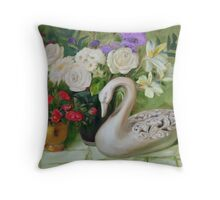 Carved Swan with Flowers Throw Pillow