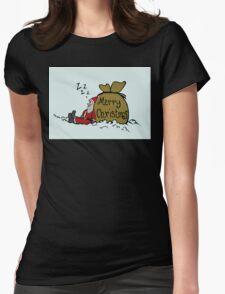 Sleeping Santa Claus Womens Fitted T-Shirt