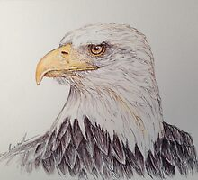 Eagle Ball Point Pen Art by EricaRussell